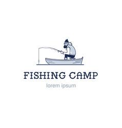 vintage fishing emblem or logo the fisherman is vector image