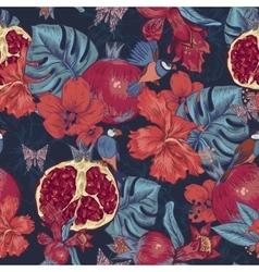 Vintage Seamless Background Tropical Fruit vector image
