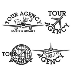 Vintage tour agency emblems vector