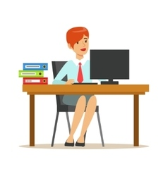 Woman working at her desk with computer and vector