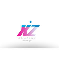 xz x z alphabet letter combination pink blue bold vector image vector image