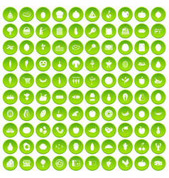 100 natural products icons set green circle vector