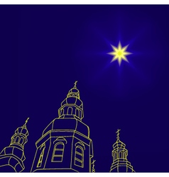 Christian christmas church with a christmas star vector