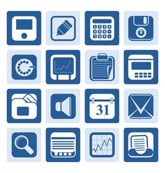 One tone business office and finance icons vector