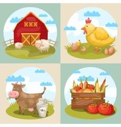 Farming Compositions Set vector image