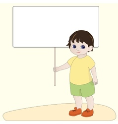Boy holding blank banner vector