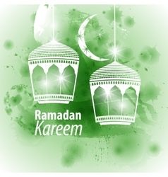 Watercolor green blob ramadan kareem vector