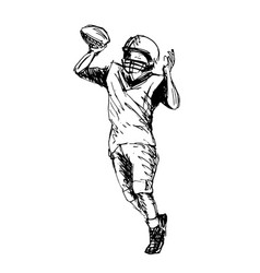 hand sketch player of american football vector image