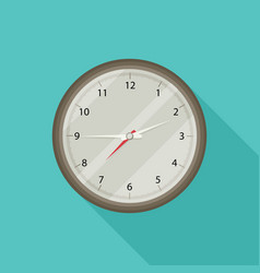 Clock icon flat style with long shadow vector
