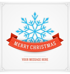 Merry Christmas postcard ribbons and snowflake vector image