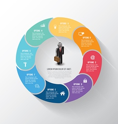Circle info-graphic step with business man icons vector