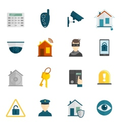 Home security icon flat vector