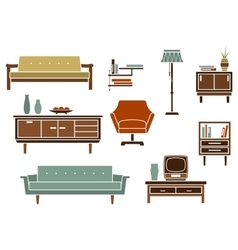 Flat interior furniture and accessories vector