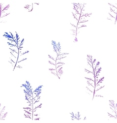 Seamless imprints pattern of the branched herbs vector