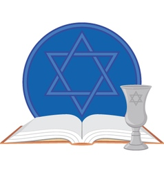 Kiddush cup and prayer book with star of david vector