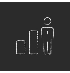 Businessman and graph icon drawn in chalk vector