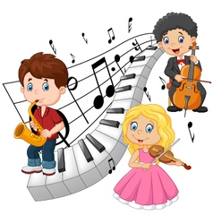 Little kids playing music with piano tone backgrou vector