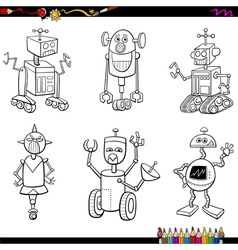 Robot characters coloring page vector