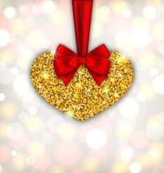 Shimmering golden heart with red silk ribbon vector