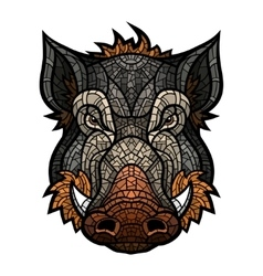 Head of boar mascot color in mosaic style vector image