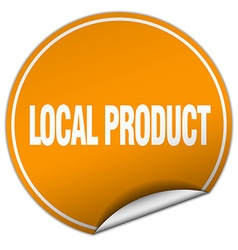 Local product round orange sticker isolated on vector