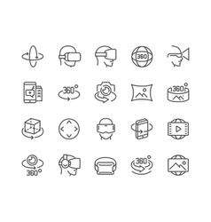 Line 360 degree icons vector