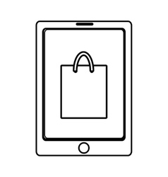 Electronic device with shopping bag on the screen vector