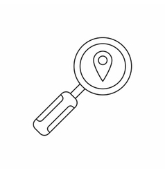 Magnifying glass and pin pointer icon vector