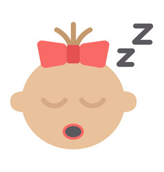 baby girl sleep flat icon child and infant vector image vector image