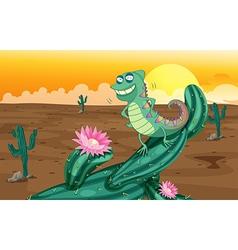 Cartoon Lizard Cactus vector image
