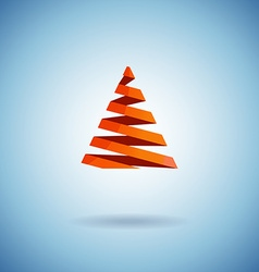 Christmas tree made with red ribbons on blue vector image