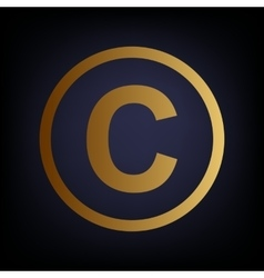 Copyright sign golden style icon vector