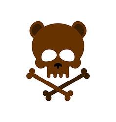 Cute bear skull with bones honey bear good vector