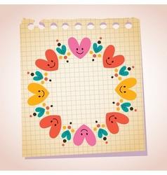 Cute hearts frame note paper cartoon vector
