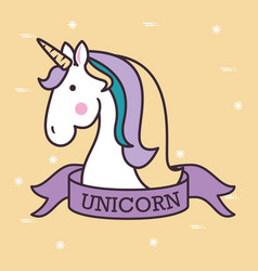 Cute unicorn pop art vector