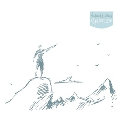 Drawn silhouette man top hill winner sketch vector image vector image