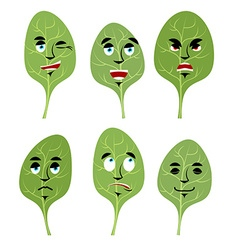 Emotions spinach set expressions avatar greens vector