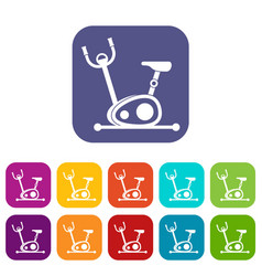 Exercise bike icons set vector