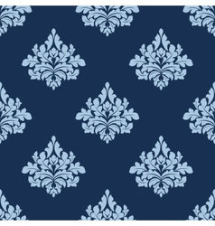 Foliage seamless pattern with blue damask tracery vector