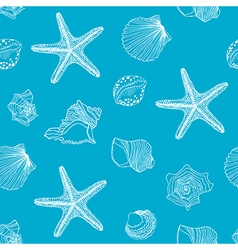 Hand drawn Shells seamless pattern vector image vector image