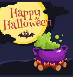 happy halloween greeting card poster banner vector image vector image