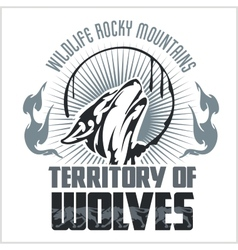 Howling Wolf emblem - dangerous territory vector image