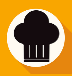 icon chef hat on white circle with a long shadow vector image