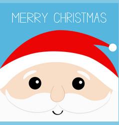 merry christmas santa claus head face beard vector image