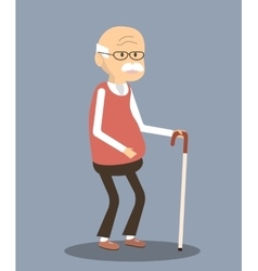 Old Man with Cane vector image vector image