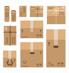 Paper boxes set product package mockup design vector
