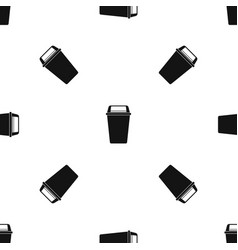 Plastic flip lid bin pattern seamless black vector