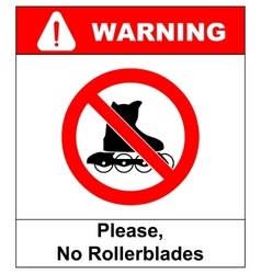 Please No rollerblades sign in isolated on vector image vector image