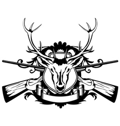 Rossed guns and head of deer vector