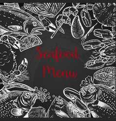 seafood fresh menu template fish crab shrimp vector image